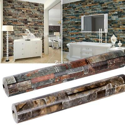 3D Realistic Rustic Rusty Sand Stacked Brick Stone Rock Roll Wallpaper HOME