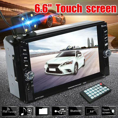 "2 DIN 6.6"" Bluetooth Car Stereo Radio HD MP5 FM Player Touch Screen+ Rear Camera"