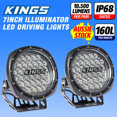 2x 7inch Adventure Kings LED Driving Lights Round Spotlight Offroad