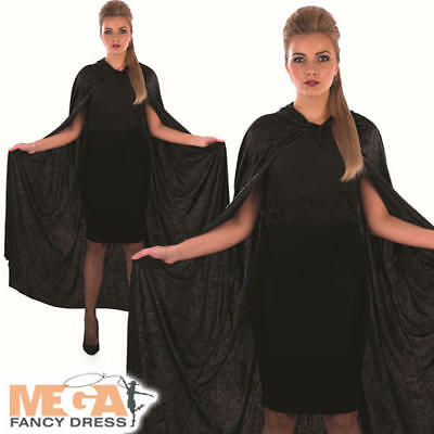 Black Velour Hooded Cape Adults Fancy Dress Vampire Cloak Halloween Costume Acc
