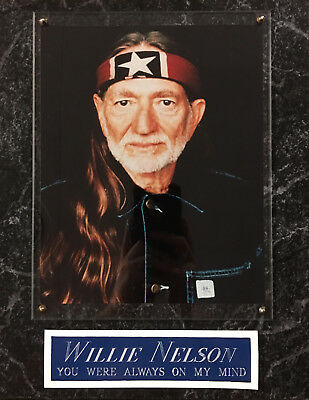 Die Hard Fan Willie Nelson Framed 8X10 Photo-Man Cave-12X15 Wall Plaque Display