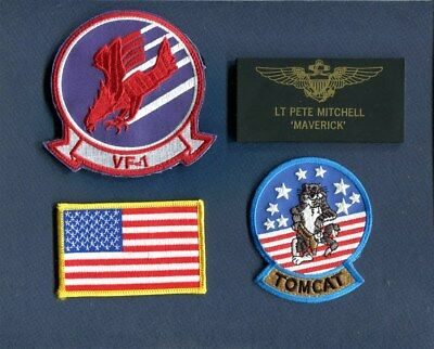 PETE MITCHELL MAVERICK TOP GUN MOVIE TOMCAT COSTUME US Navy Squadron Patch Set