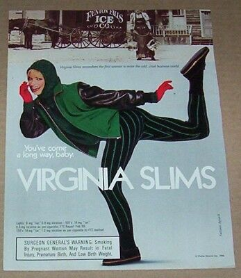 1986 print ad page -Virginia Slims cigarette sexy Girl smoking horse ice company