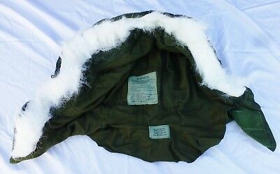 Vietnam US HOOD only Extreme Cold Weather Fur Ruff OG-107 Military Green n White