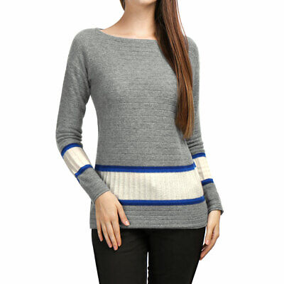 Women Boat Neck Jersey Contrast Rib Knit Cashmere Sweater