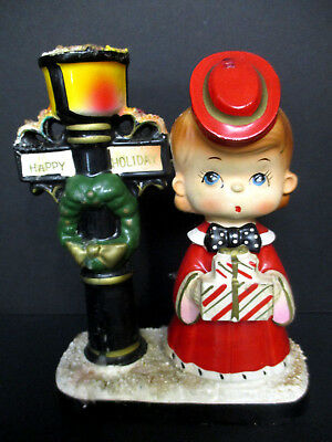 Vintage Happy Holiday Girl Shopper Lamppost Candleholder Christmas Ceramic