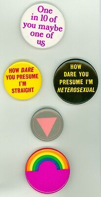 5 Vintage 1980s LGBT Gay Rights Cause Pinback Buttons One In 10 Of You Maybe 1