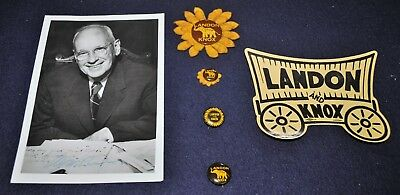 4 Vintage 1936 President Landon Political Pinback Buttons 1 Sign/Photo 1 Sticker
