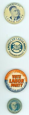 4 Vintage 1936-40 New York American Labor Party FDR Political Pinback Buttons