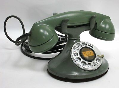 Vintage F1 Green Rotary Dial Desk Telephone Bell System Western Electric Company