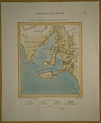 1889 Perron map ADELAIDE, SPENCER GULF & ST VINCENT GULF, SOUTH AUSTRALIA (#159)