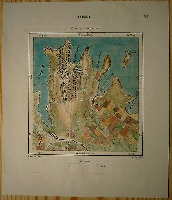 1889 Perron map SYDNEY IN YEAR 1802, NEW SOUTH WALES, AUSTRALIA (#163)