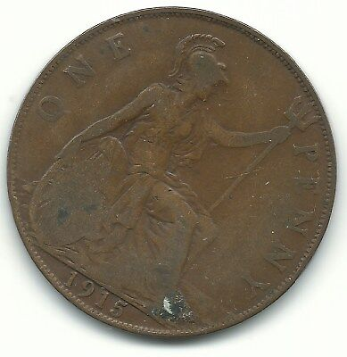 Better Grade 1915 Great Britain English Large Penny Cent-Agt224