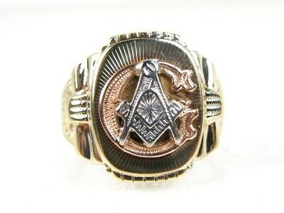 Handsome Vintage 10k Yellow Gold Multi Colored Masonic Mens Gents Ring 7.6g