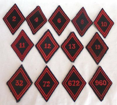 Lot of (13) Different French Army Engineer Regiments Diamond Patches