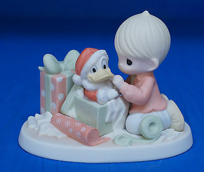 Donald Boy Wrapping Christmas Presents Disney Precious Moments Figurine 710038