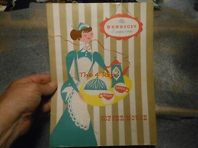 Vintage 1962 Henrici's Coffee House Menu Oakbrook Illinois