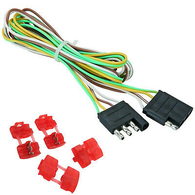 4 WAY 25FT Trailer Wiring Connection Kit Flat Wire Extension