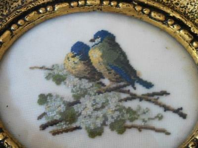 Vintage Gold Gilt Framed Needlepoints Blue Birds Set of 2 Pictures Art