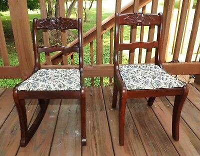 1940's Salesman Sample Pr of Matching Chairs Carved Roses Orig.Finish Children