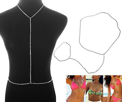 Women Bikini Cross Harness Silver Waist Belly Body Rhinestones Chain Jewelry