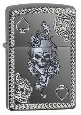 Zippo 29666 Ace of Spades-Skull Black Ice Finish Armor Deep Carved Lighter