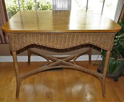 "Large Antique Wicker Table Early 20th Century w/ Wood Top 36"" x 24"" x 291/2"" VGC"