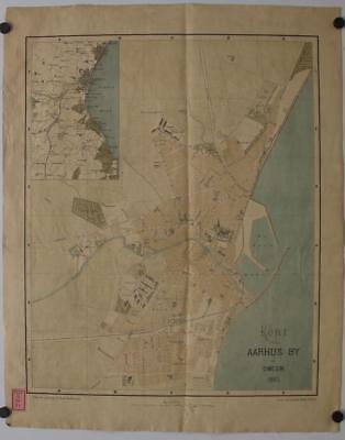 Aarhus Denmark 1885 Backhausen Antique Original Colored Lithographic  Map