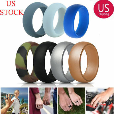7 Pack Comfortable Silicone Wedding Ring Band Rubber Men Women Flexible Gifts