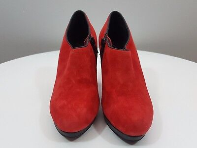 SHOES OF PREY sz 33 womens red ankle boots suede leather shoes RRP$250+[#F20]