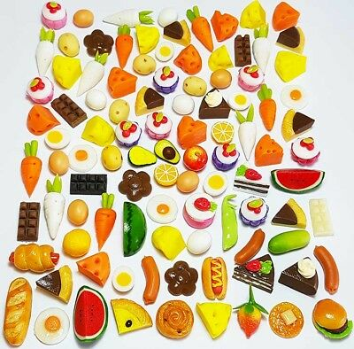 100 Dollhouse Miniature Mixed Food Set * Doll Mini Cakes Bakery Fruit Veg Lot z8