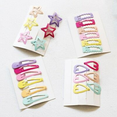 6pcs Cute Kid Girl Hairpins Candy Color BB Snap Hair Clips Hair Accessories Gift