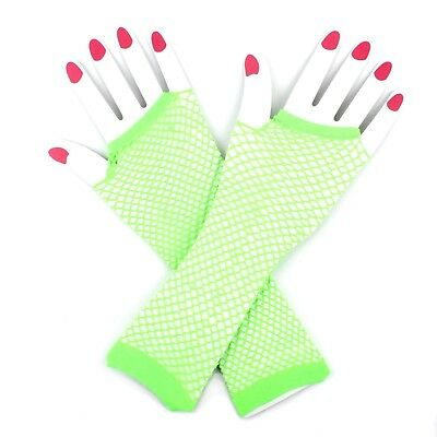 Neon Lime Green Fishnet Mesh Gloves 80S 80'S Party Costume Accessory
