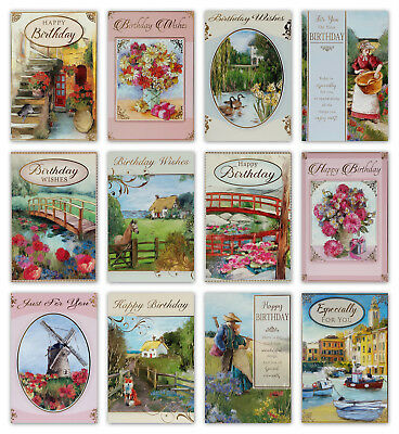 Countryside & Flowers Open Birthday Greetings Card for Men or Women