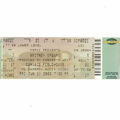 BRITNEY SPEARS Full Concert Ticket Stub INDIANAPOLIS 6/21/02 OOPS I DID IT AGAIN