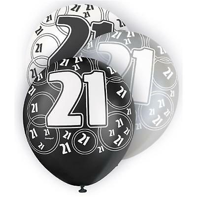 Glitz Black Silver White 21St Birthday Party Supplies Pack Of 6 Helium Balloons