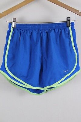 Nike Womens Blue Lime Green Lined Temp Track Dri Fit Running Shorts Size Small S