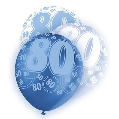 Glitz Blue White 80Th Birthday Party Supplies Pack Of 6 Helium Balloons