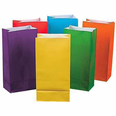 Coloured Birthday Party Paper Favour Lolly Treat Gift Bags Sacks (Pack Of 12)