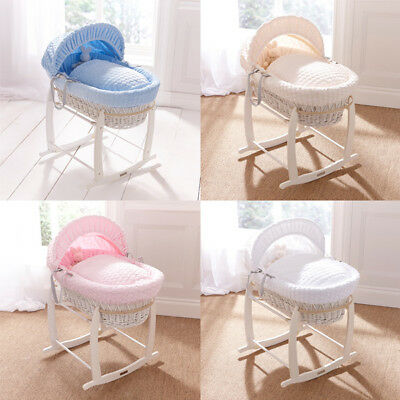 Clair de Lune Marshmallow White Wicker Moses Basket
