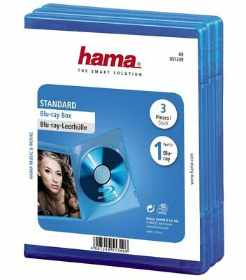 Hama 3x PACK Blu-Ray-Hüllen 1er 1-Fach Leer-Hülle Box Boxen CD DVD BluRay Disc