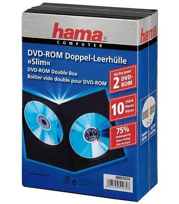 Hama 10x Slim DVD-Hüllen 2 DVDs 2er 2-Fach Leer-Hülle Box CD DVD Blu-Ray Disc