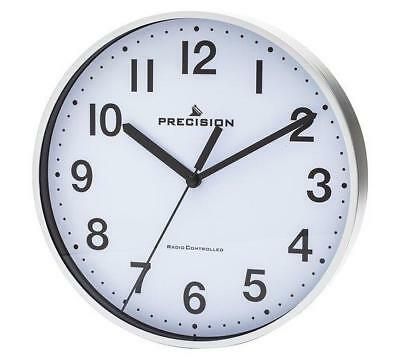 New Precision Radio Controlled Wall Clock in Silver