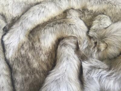 Super Luxury Faux Fur Fabric Material - SUPERIOR LONG PILE GREY SAND