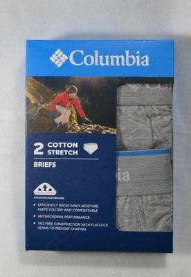 2 Pack Men's Columbia Moisture Wicking Stretch Briefs. Med/large/2Xl(Gray)