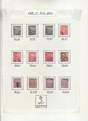 Cape Of Good Hope Values 3 Album Pages Sg48-Sg69 Used