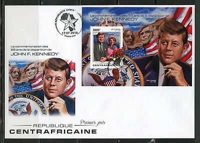 CENTRAL AFRICA 2018 55th MEMORIAL  ANN OF JOHN F. KENNEDY IMPERF S/SHEET FDC
