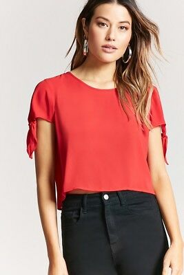 5d8d587f1e70f NWT FOREVER 21 Scoop Neck Chiffon Tie Sleeve Keyhole Crop Top Tee Shirt  Blouse S