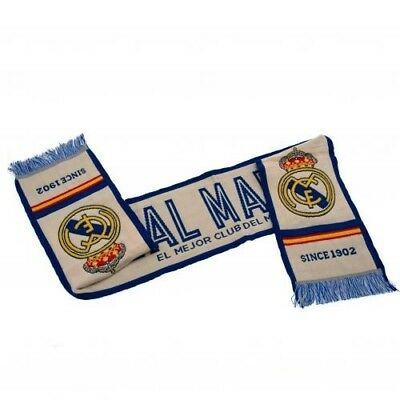 Real Madrid Football Club Crest Jacquard Knitted White & Blue Scarf WT