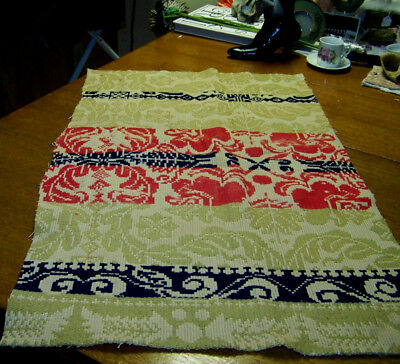 antique RED BLUE GREEN CREAM WOVEN COVERLET PIECE